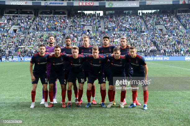 The Chicago Fire starting eleven before a MLS match between the Chicago Fire and the Seattle Sounders at Century Link Field in Seattle WA
