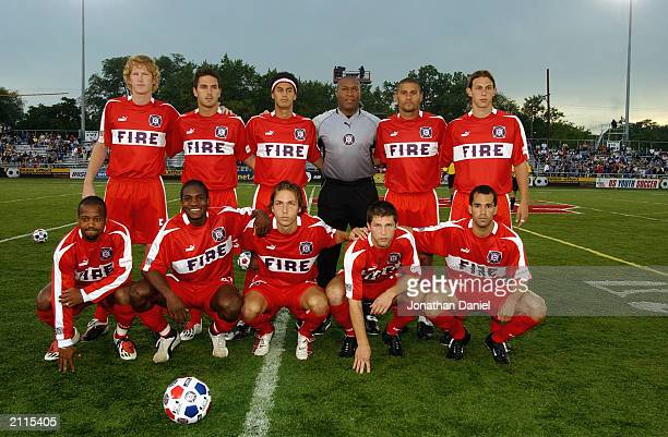 The Chicago Fire team poses for a photo prior to their MLS game against the Dallas Burn on June 18 2003 at Cardinal Stadium in Naperville Illinois...