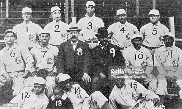 The Chicago Leland Giants were photographed the year they joined the Negro Leagues in 1905 Frank Leland owner and comanager sits at center number 8