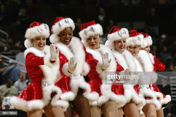 The Chicago Luvabulls dance team perform during a game between the Chicago Bulls and the Dallas Mavericks at the United Center on December 5 2005 in...