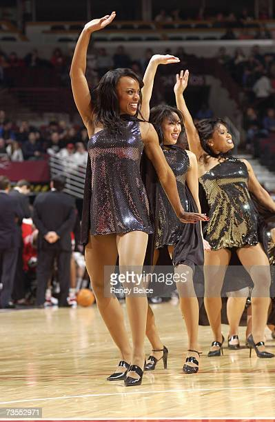 The Chicago Luvabulls dance team performs during a game between the Toronto Raptors and the Chicago Bulls at the United Center on February 13 2007 in...