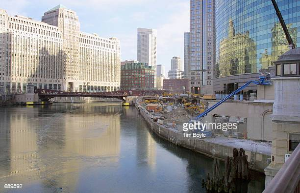 The Chicago river floats past constructioninprogress along old upper and lower Wacker Drive near the FranklinOrleans Street bascule bridge January 2...