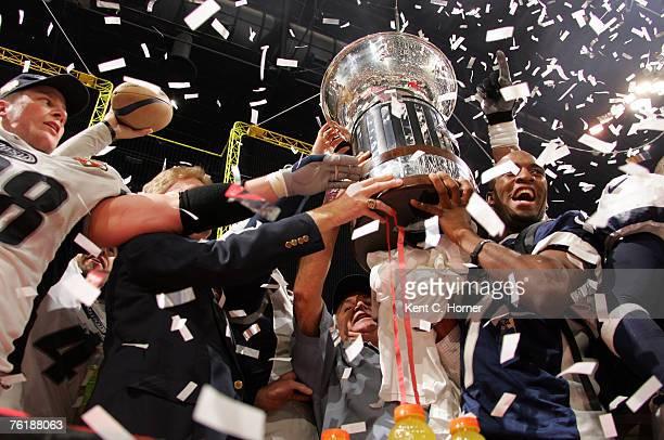 The Chicago Rush celebrate winning ArenaBowl XX against the Orlando Predators at the Thomas Mack Center in Las Vegas Nevada on June 11 2006 The Rush...