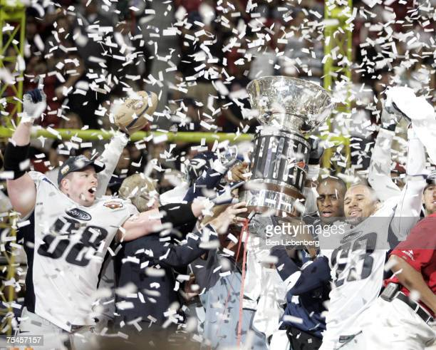 The Chicago Rush celebrate winning the ArenaBowl XX against the Orlando Predators at the Thomas Mack Center in Las Vegas Nevada on June 11 2006 The...