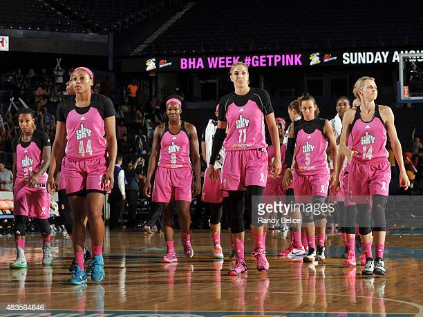 The Chicago Sky head to their locker room during halftime of a game against the New York Liberty on August 7 2015 at Allstate Arena in Rosemont...