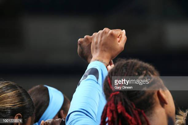 Linnae Harper of the Chicago Sky handles the ball against the Seattle Storm on July 18 2018 at the Wintrust Arena in Chicago Illinois NOTE TO USER...