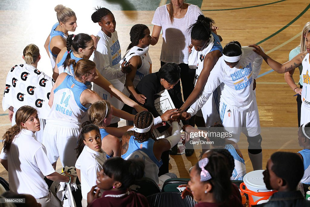 The Chicago Sky huddle during a time out in the pre-season game against the New York Liberty on May 15, 2013 at the Jacoby D. Dickens Physical Education and Athletic Center on the campus of Chicago State University in Chicago, Illinois.
