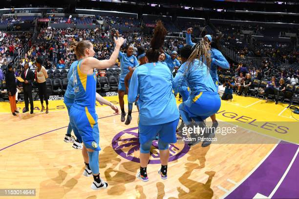 The Chicago Sky huddles up before the game against the Los Angeles Sparks on June 30 2019 at the Staples Center in Los Angeles California NOTE TO...