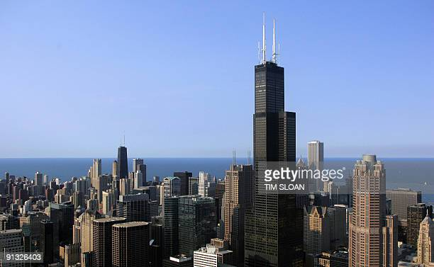 The Chicago skyline featuring the Sears Tower is seen from a helicopter 06 July 2006 in Chicago Illinois The tower the tallest in North America was...
