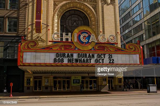 The Chicago Theater marquee features upcoming shows by Duran Duran and comedian Bob Newhart on October 17, 2011 in Chicago, Illinois. According to...