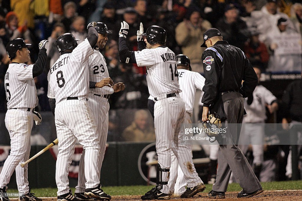 The Chicago White Sox celebrate after Paul Konerko hit a grand slam in the 7th inning during game 2 of the World Series against the Houston Astros at US Cellular Field in Chicago, Illinois on October 23, 2005. The White Sox won 7-6.