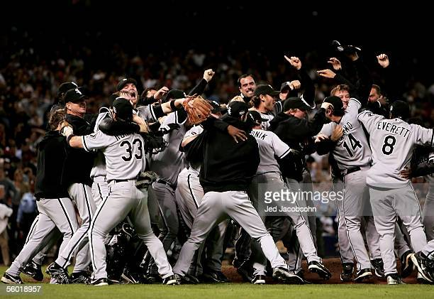 The Chicago White Sox celebrate after winning Game Four of the 2005 Major League Baseball World Series against the Houston Astros at Minute Maid Park...