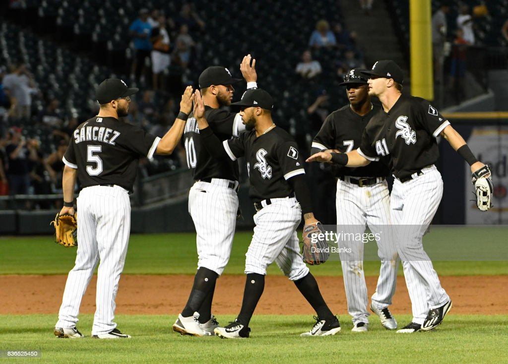 The Chicago White Sox celebrate their win against the Minnesota Twins in game one of a doubleheader on August 21, 2017 at Guaranteed Rate Field in Chicago, Illinois. The White Sox defeated the Twins 7-6.