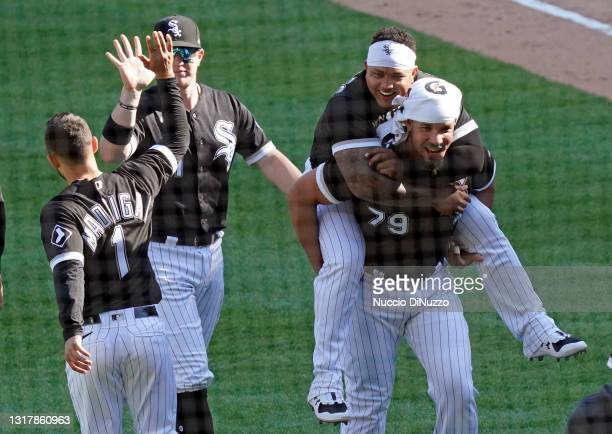 The Chicago White Sox celebrate their win over the Minnesota Twins at Guaranteed Rate Field on May 13, 2021 in Chicago, Illinois. The White Sox...