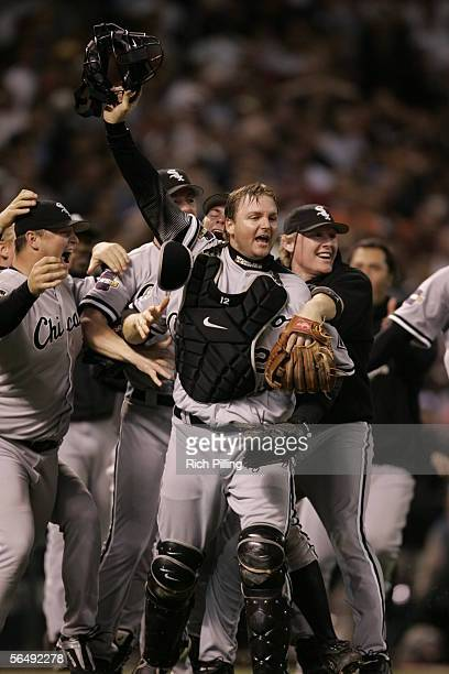 The Chicago White Sox celebrate winning the World Series in four games against the Houston Astros at Minute Maid Park on October 26 2005 in Houston...