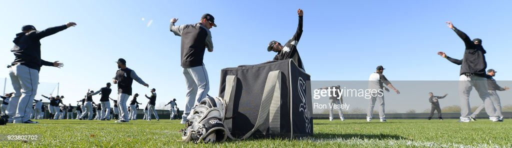 The Chicago White Sox loosen up during a during spring training workout February 22, 2018 at Camelback Ranch in Glendale Arizona.