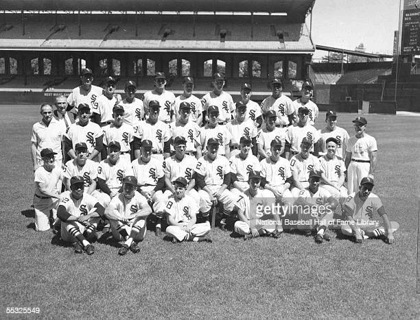 The Chicago White Sox pose for a team photo at Comiskey Park in Chicago Illinois
