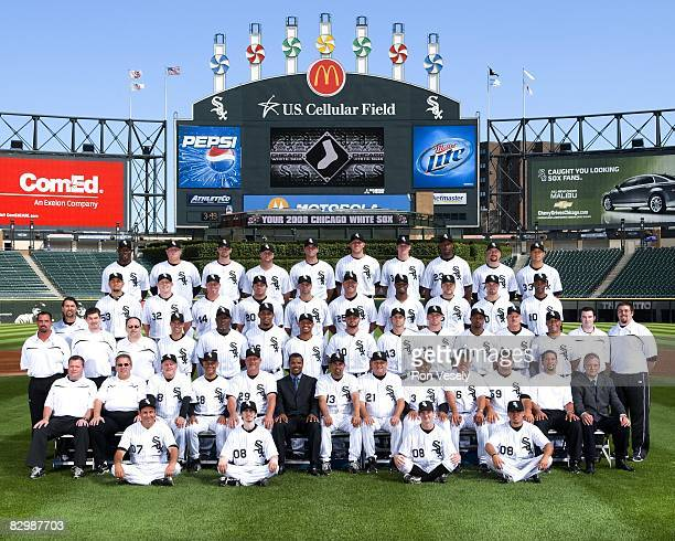 The Chicago White Sox pose for a team photo on August 7 2008 at US Cellular Field in Chicago Illinois FIRST ROW Batboys SECOND ROW Assistant Trainer...