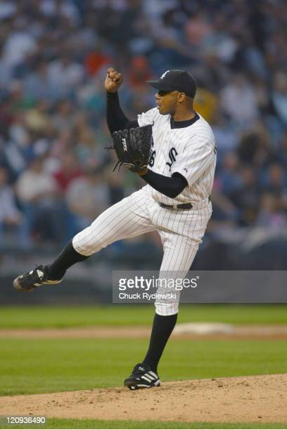 The Chicago White Sox starting pitcher Orlando El Duque Hernandez pitches during the game against the Cleveland Indians on June 3 2005 at US Cellular...
