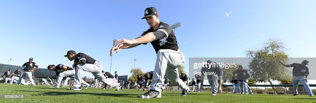 The Chicago White Sox stretch during a during spring training workout February 22, 2018 at Camelback Ranch in Glendale Arizona.