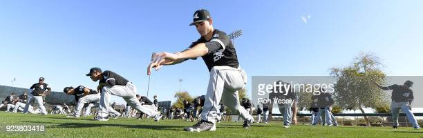 The Chicago White Sox stretch during a during spring training workout February 22 2018 at Camelback Ranch in Glendale Arizona