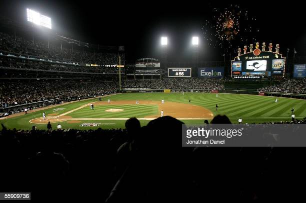The Chicago White Sox take the field at the start of Game Two of the American League Championship Series against the Los Angeles Angels of Anaheim on...