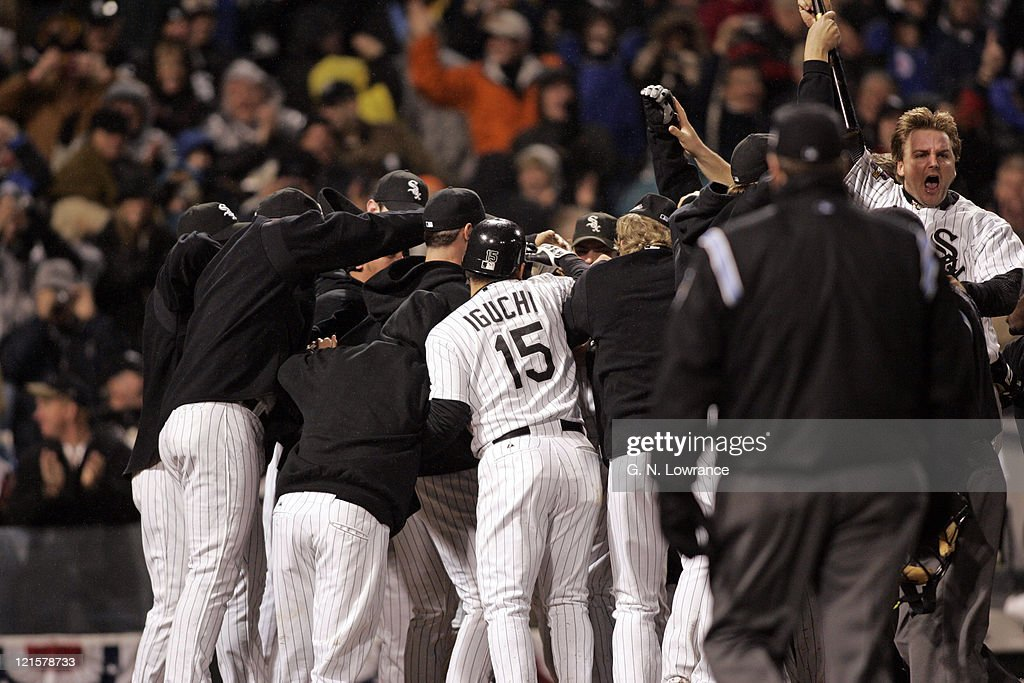 The Chicago White Soxs celebrate a game winning home run by Scott Podsednik in the 10th inning during game 2 of the World Series against the Houston Astros at US Cellular Field in Chicago, Illinois on October 23, 2005. The White Sox won 7-6.