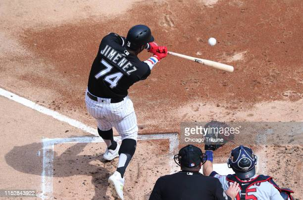 The Chicago White Sox's Eloy Jimenez flies out to end the first inning against the Minnesota Twins at Guaranteed Rate Field in Chicago on Saturday...