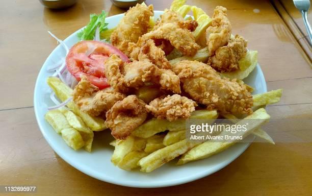 the chicharrón of fish, peruvian dish. - chicharrones fotografías e imágenes de stock