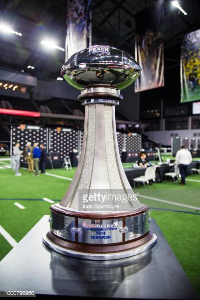 The Chickfila Peach Bowl trophy sits during the Big 12 Media days on July 17 2018 at the Ford Center at The Star in Frisco Texas