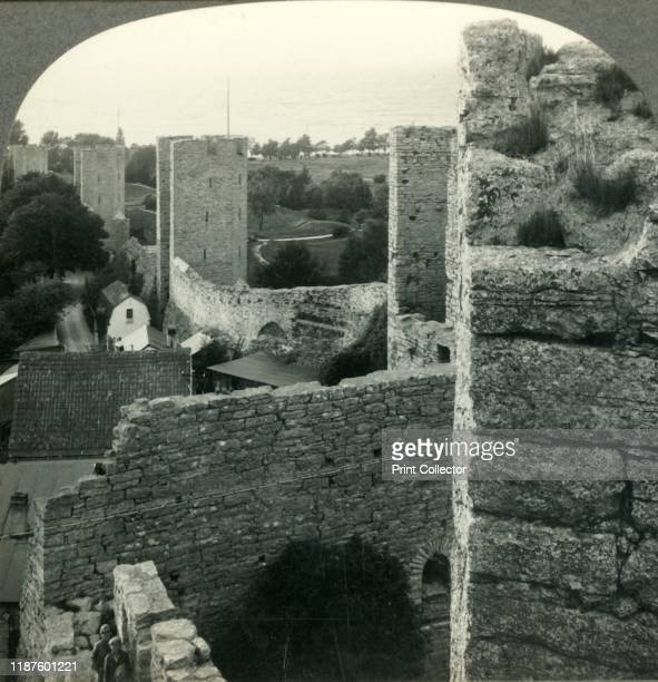 The Chief Charm of Medieval Visby the City Walls Island of Gotland Sweden' circa 1930s Medieval defensive walls built during 13th and 14th centuries...