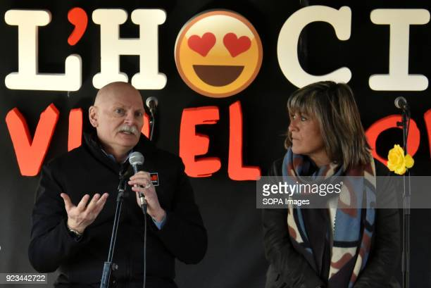 The Chief delegate of the GSMA John Hoffman and the Mayor of the city of L´Hospitalet de Llobregat Nuria Marin during the presentation of the actions...