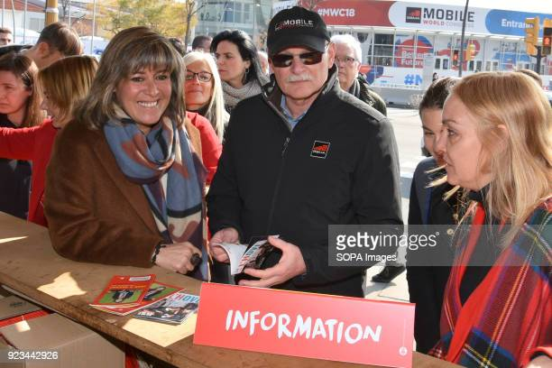 The Chief delegate of the GSMA John Hoffman and the Mayor of the city of L´Hospitalet de Llobregat Nuria Marin during an event that take place during...