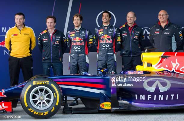 The chief designer of Red Bull British Rob Marshall chief technical director of Red Bull British Adrian Newey Australian Formula One driver Daniel...