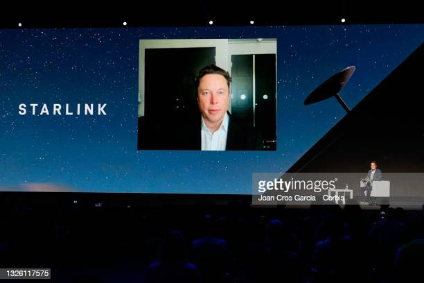 The Chief Engineer of SpaceX Elon Musk, remote speaking at MWC Keynote during the second day of Mobile World Congress Barcelona, on June 29, 2021 in...