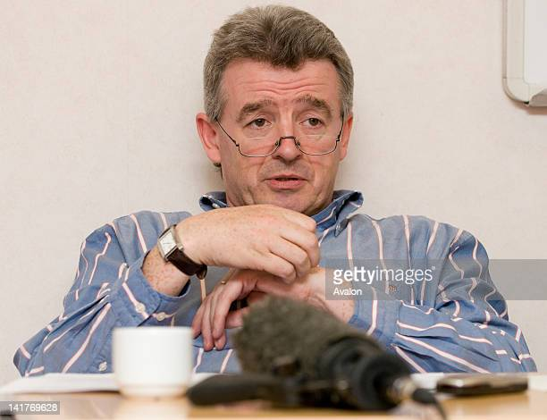 The chief executive of Ryanair Michael O'Leary announces cuts and redundancies at a London Press Conference on July 17th 2008