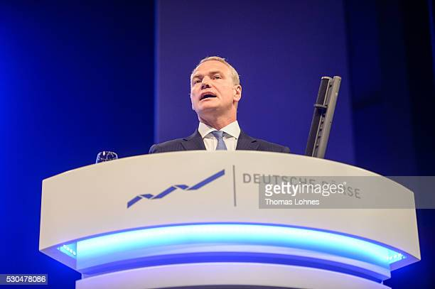 The chief executive officer of Deutsche Boerse AG Carsten Kengeter speaks during the German stock exchange's annual general meeting at...