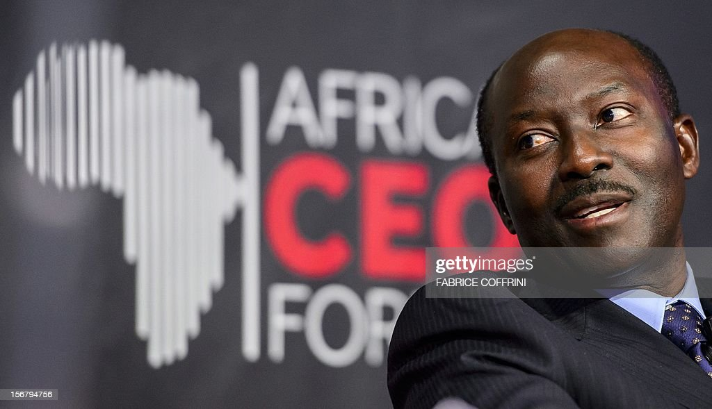 The chief executive officer of the Gabon-headquartered BGFIBank, Henri-Claude Oyima, gestures on November 21, 2012 during the 'What development strategies should African companies employ?' plenary session at the first Africa CEO Forum in Geneva.