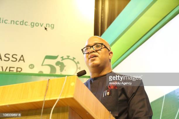 The Chief Executive Officer of the Nigeria Centre for Disease Control Chikwe Ihekweazu makes a speech during the Lassa fever conference marking the...