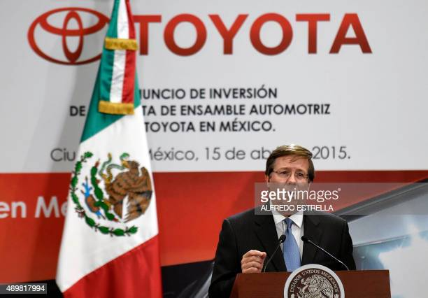The Chief Executive Officer of Toyota North America Jim Lentz gives his speech during the announcement of a $10 billion dollars investment of Toyota...