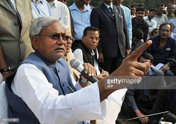 The Chief Minister of Bihar Nitish Kumar speaks during a press conference at his residence in Patna on November 24 2010 The reformist chief minister...