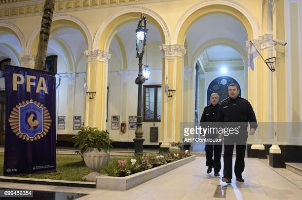 The chief of Argentina's Federal Police Captain Nestor Roncaglia arrives to an interview with AFP in the courtyard of the police headquarters in...