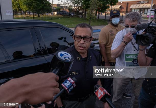 The Chief of Detroit Police James Craig speaks with the press about the protests taking place in Detroit, Michigan, June 3,2020 - The Chief of...