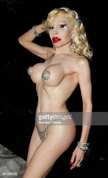 The chief of parade transsexual Amanda Lepore poses prior to the commencement of the parade during the annual Sydney Gay and Lesbian Mardi Gras...