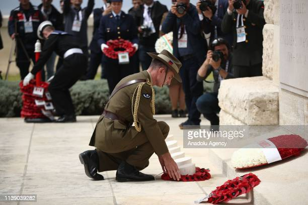 The Chief of the Australia's Defence Force Angus Campbell lays a wreath during commemoration ceremony at the Cape Helles Memorial on the occasion of...