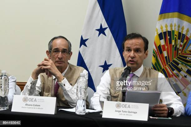 The chief of the Organization of American States mission Jorge Tuto Quiroga and Alvaro Colom answer questions during a press conference about the...