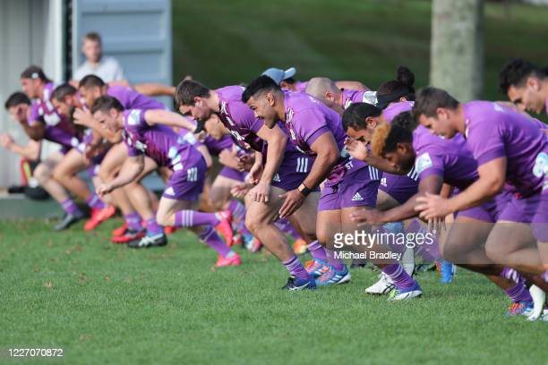The Chief warm up during a Chiefs Super Rugby training session at Ruakura Research Centre on May 26, 2020 in Hamilton, New Zealand.