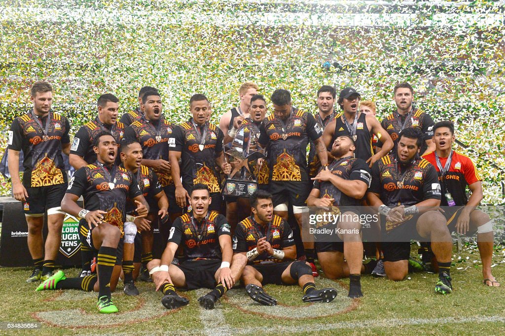 The Chiefs celebrate their victory after the Rugby Global Tens Final match between the Crusaders and Chiefs at Suncorp Stadium on February 12, 2017 in Brisbane, Australia.