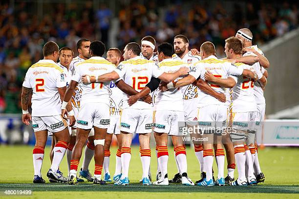The Chiefs huddle at the start of ther game during the round six Super Rugby match between the Force and the Chiefs at nib Stadium on March 22 2014...