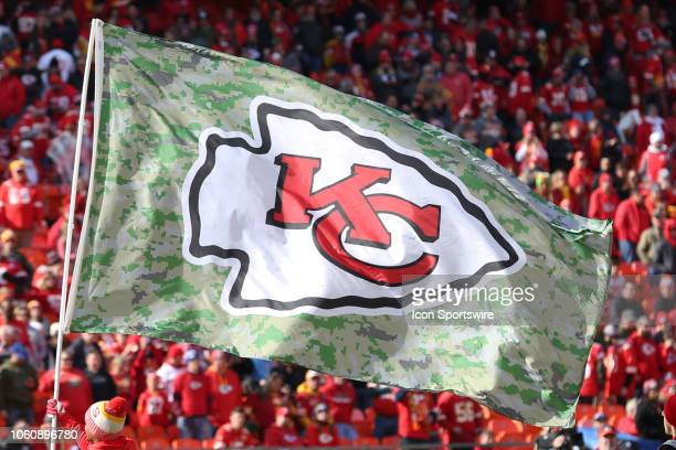 The Chiefs logo on a flag before a week 10 NFL game between the Arizona Cardinals and Kansas City Chiefs on November 11 2018 at Arrowhead Stadium in...